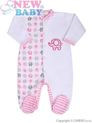 Dojčenský overal New Baby Sloník bielo-ružový