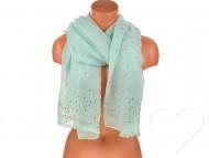 Dámský jednobarevný bavlněný šátek s kamínky - zelený