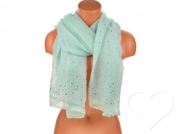 Eșarfă pentru femei de o culoare din bumbac cu pietricele - verde