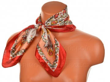 Malý šátek s motivem květinové zahrady, 55x55cm - červený