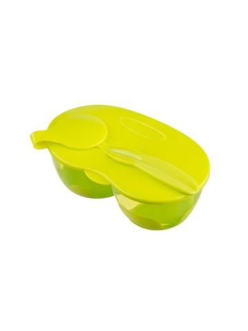 Dětská dvoukomorová miska se lžičkou Akuku světle zelená
