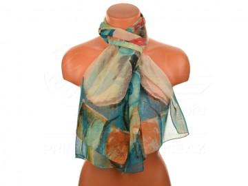 Letní šátek - abstraktní, 165x50cm - zelený