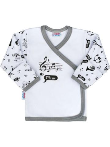 Dojčenská bavlnená košieľka New Baby Music, velikost Biela, 56 (0-3m)