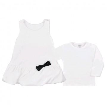Kojenecké semiškové šatičky s tričkem Bobas Fashion Bow krémové