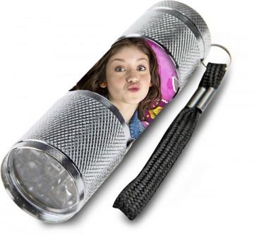 Dětská hliníková LED baterka Soy Luna stříbrná