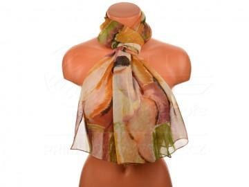 Letní šátek - abstraktní, 165x50cm - béžový
