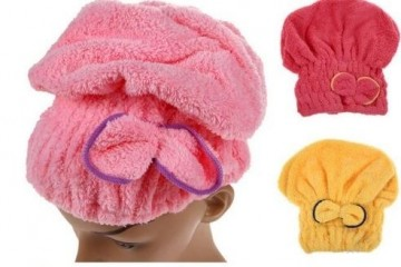 Turban na rychlé vysoušení vlasů - tmavě růžový