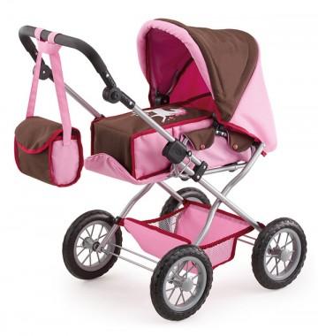 Kočárek pro panenky Bayer Kombi Grande růžovo-hnědý