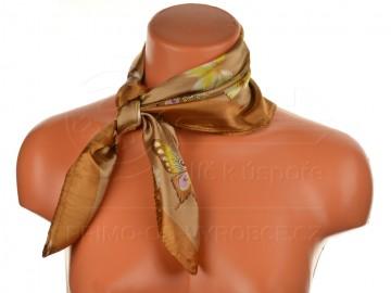 Malý šátek s motivem motýla, 55x55cm - hnědý