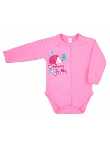 Dojčenské body celorozopínacie Bobas Fashion Ježko ružové
