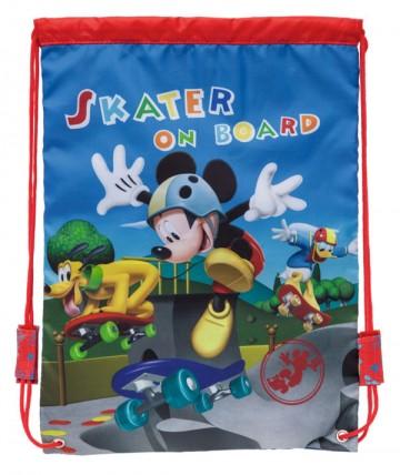Taška na tělocvik a přezůvky Mickey na skatu 40 cm