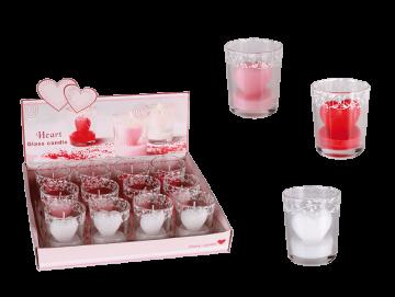 Svíčka srdce ve skle - červená/růžová/bílá