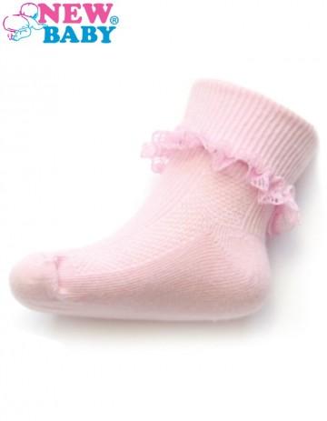 Kojenecké bavlněné ponožky s krajkovým volánkem New Baby světle růžové