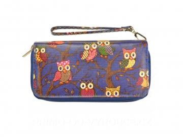 Dámská peněženka vzor sovy s poutkem - modrá [6812]