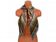 Velký šátek s motivem exotických květů, 90x90 cm - šedý