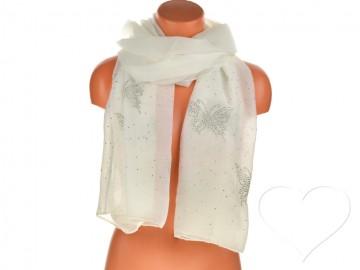 Eșarfă pentru femei de o culoare din bumbac cu pietricele - alb