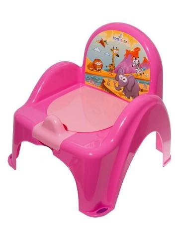 Detský nočník s poklopom ružový safari