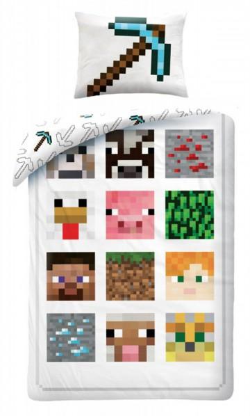 Povlečení Minecraft bílé 140/200, 70/90