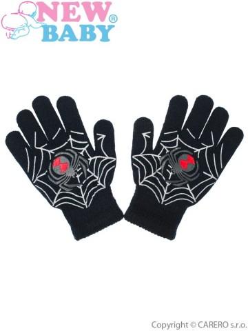 Dětské zimní rukavičky New Baby s pavoukem tmavě šedé