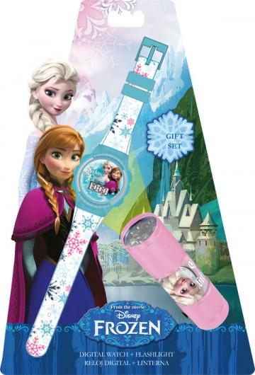 Dárková sada Ledové Království hodinky a LED baterka