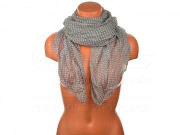 Letní šátek s motivem kvítků, 170x75cm - šedý
