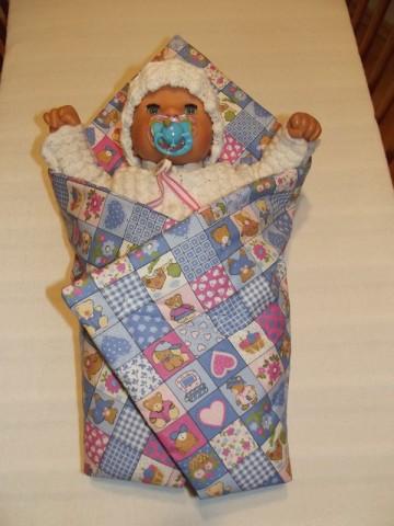 Rychlozavinovačka pro panenky medvídek kostičky modré