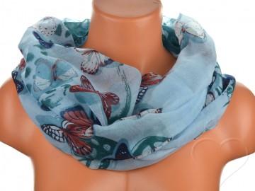 Dámský tunelový šátek s motýly - modrý