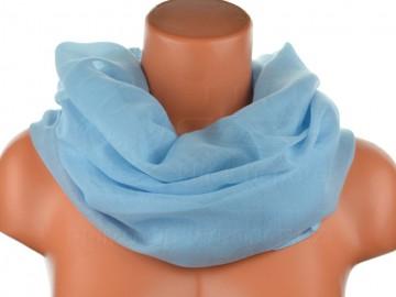 Dámský jednobarevný tunelový šátek - světle modrý