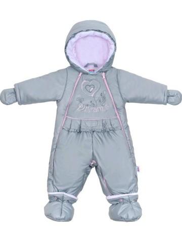 Luxusní zimní kombinéza s podšívkou New Baby Dreams šedo-růžová