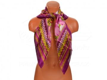 Velký šátek s motivem exotických květů, 90x90 cm - purpurový