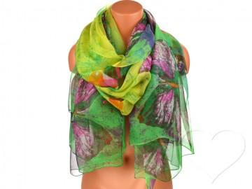 Eșarfă pentru femei cu fluturi - verde