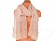Dámský jednobarevný bavlněný šátek s perlami - růžový