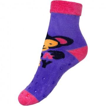 Dětské froté ponožky New Baby s ABS fialové s opicí