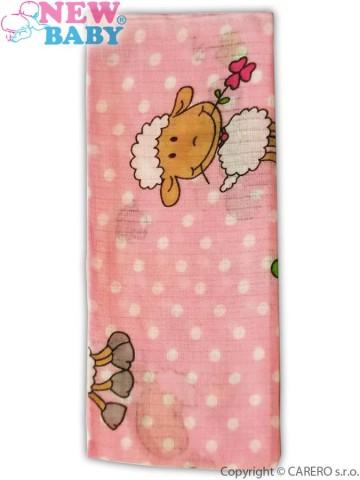 Bavlnená plienka s potlačou New Baby ružová s ovečkou