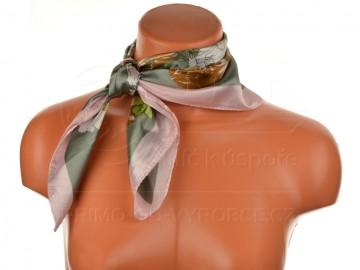 Malý šátek s motivem květin, 55x55cm - světle růžový