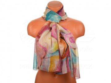 Letní šátek - abstraktní, 165x50cm - purpurový