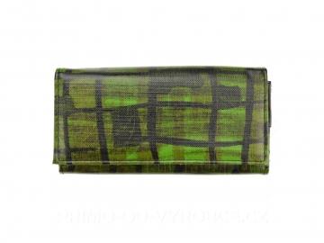 Dámská peněženka vzor mříže - zelená, vzorovaná [6955]