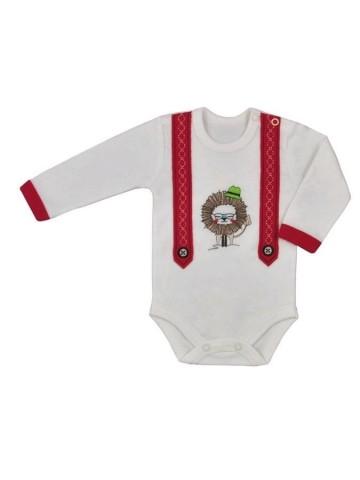 Dojčenské body s dlhým rukávom Koala Alex bielo-červené