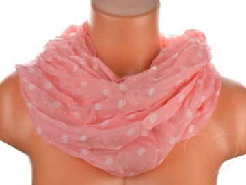 Dámský tunelový šátek s puntíky - tmavě růžový