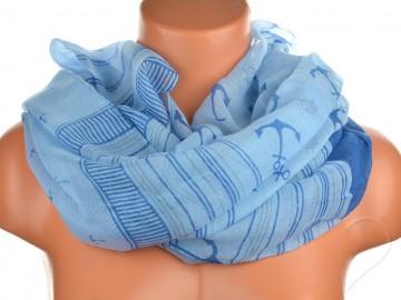 Jednobarevný letní šátek - modrý
