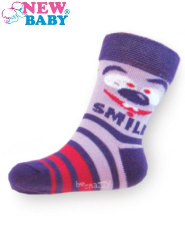 Detské bavlnené ponožky New Baby fialové s pruhmi smile