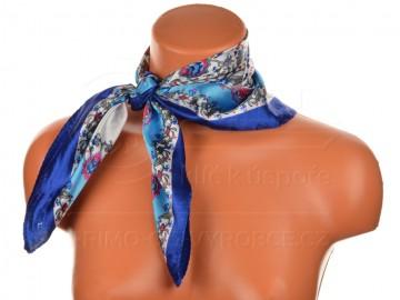 Malý šátek s motivem květinové zahrady, 55x55cm - modrý