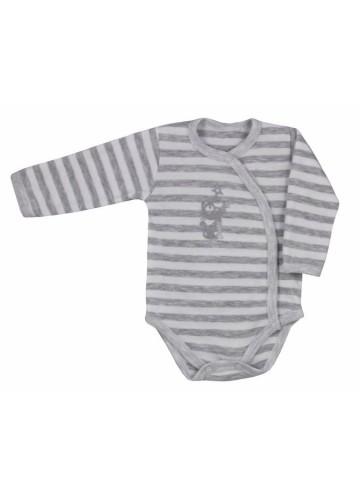 Dojčenské body celorozopínacie Bobas Fashion Strieborná Mačka s pruhmi sivé