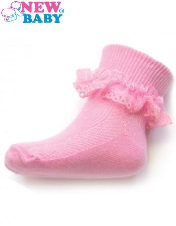 Kojenecké bavlněné ponožky s krajkovým volánkem New Baby tmavě růžové