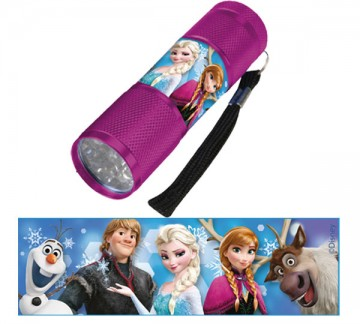 Dětská hliníková LED baterka Ledové Království MALINOVÁ