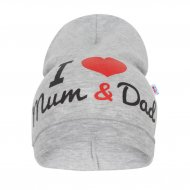 Dětská čepička New Baby I Love Mum and Dad šedá