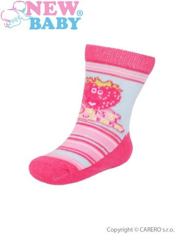Dětské ponožky New Baby s ABS růžovo-modré strawberry