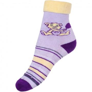 Detské froté ponožky New Baby s ABS fialové s medvedíkom