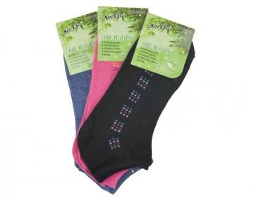 Dámské bambusové kotníkové ponožky - barevné - 3 páry, velikost 38-42