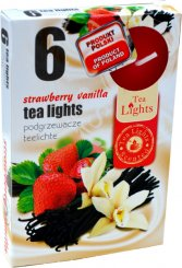 Čajové svíčky 6 kusů –  Jahoda a vanilka